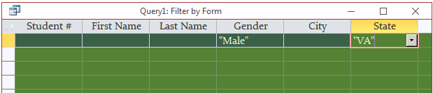 Filtering by Form for Logical Conjunctions